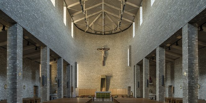 St. Olav's Catholic Cathedral with facing bricks, Brick Award Nominee 2018; Eggen Arkitekter; Photo: Matthias Herzog